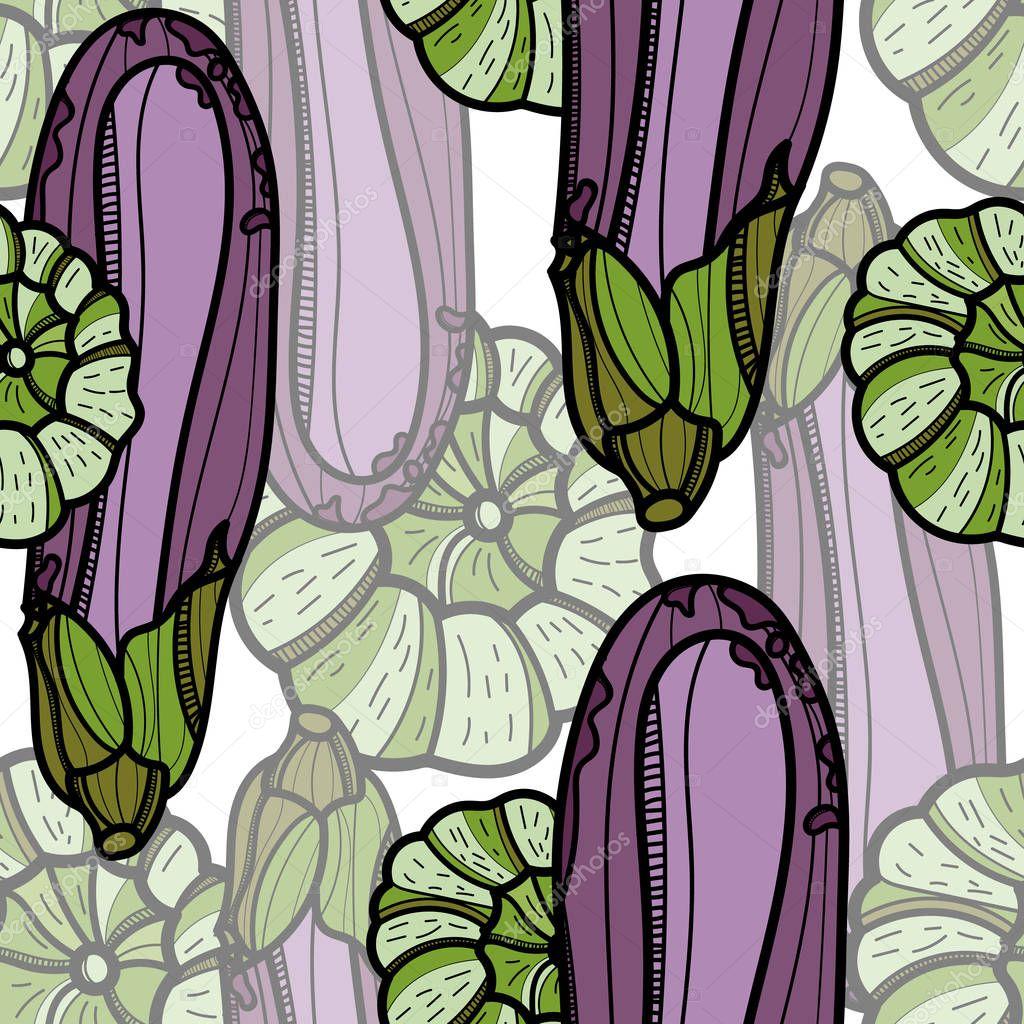 Aubergine and Pattypan squash seamless pattern.