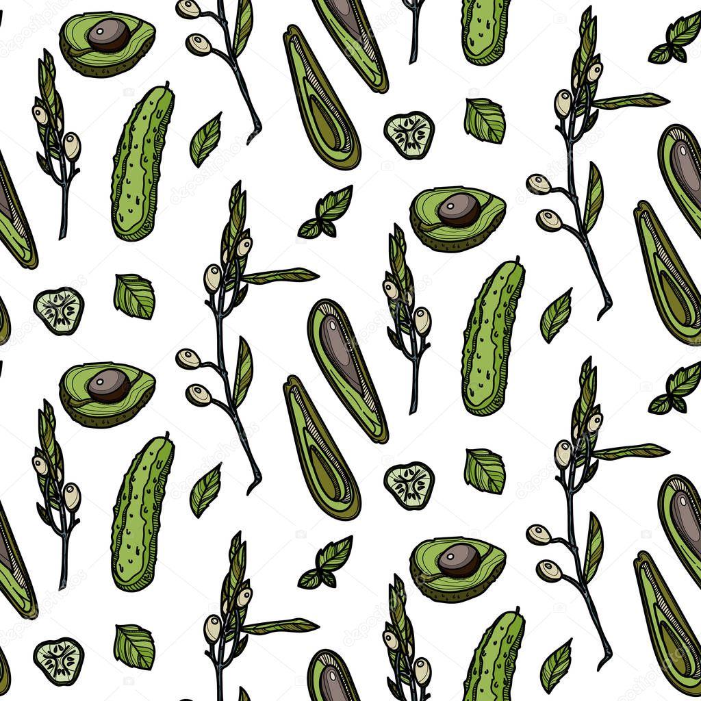 Green veggies seamless pattern.