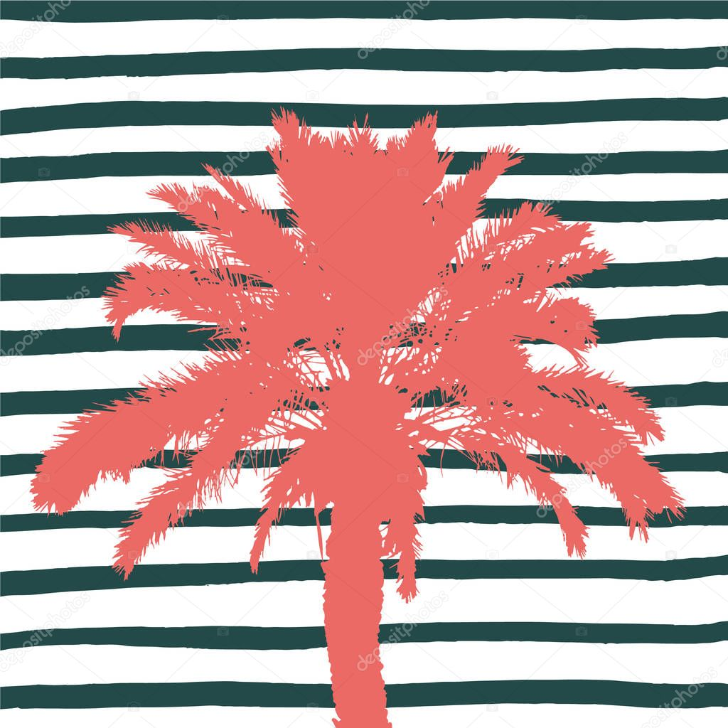 Living coral palm tree and hand drawn stripes. Vector illustration.