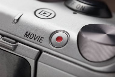 Close up of movie play button on video device