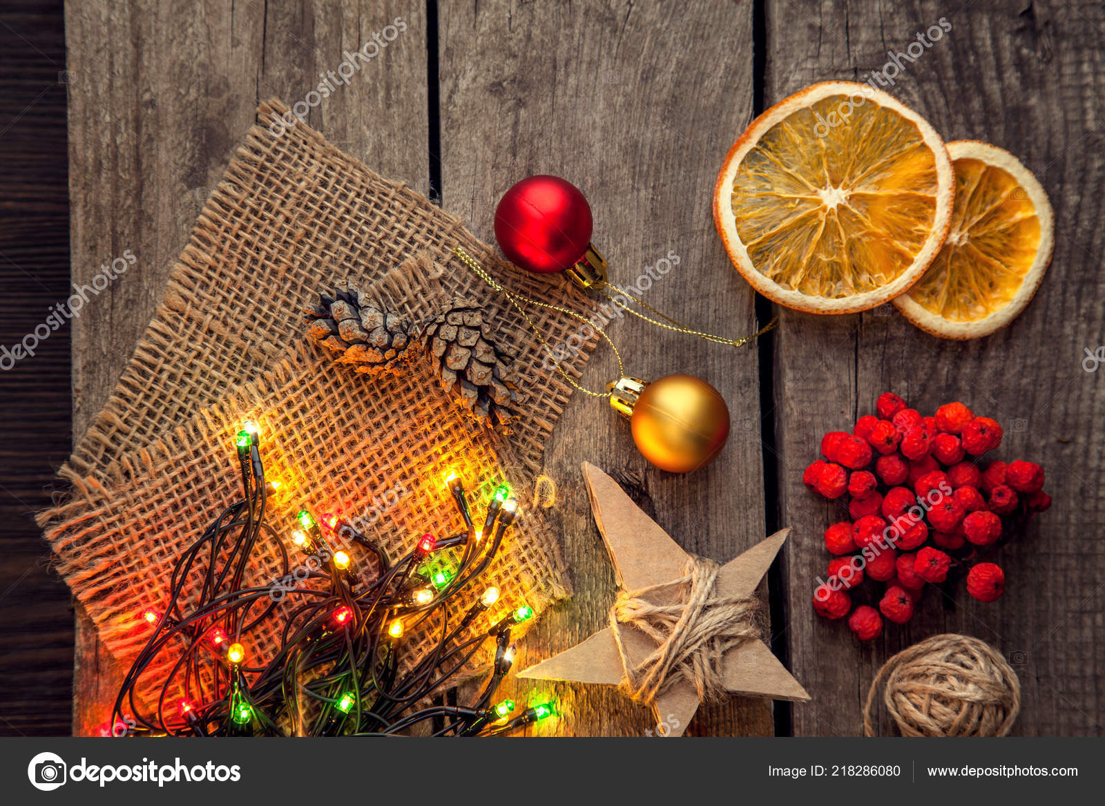Top View Christmas Garland Baubles Dried Orange Wooden Table Stock