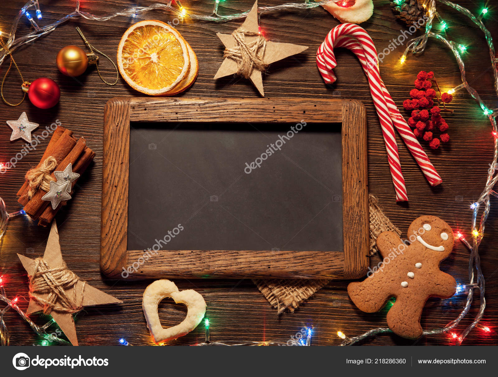 Empty Chalkboard Frame Gingerbread Christmas Decorations Wooden Table Top View — Stock Photo