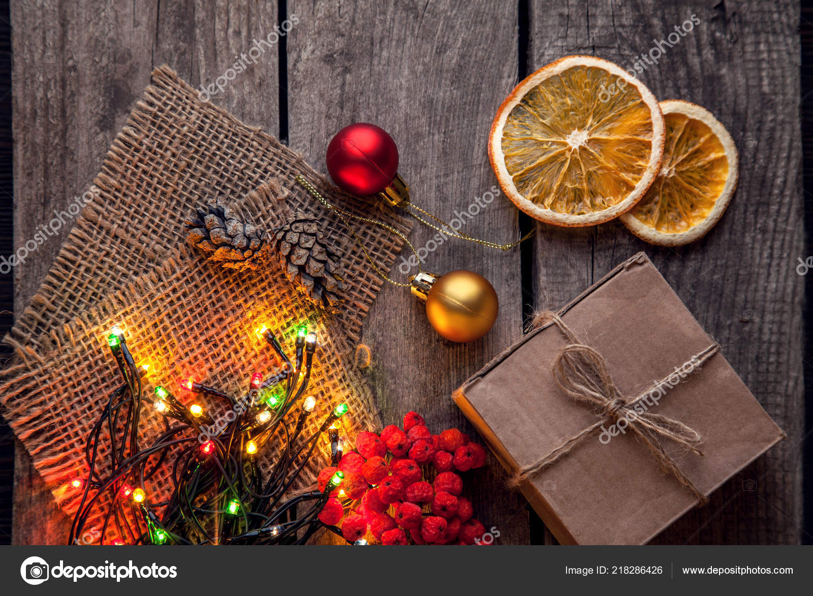 Top View Christmas Garland Berries Dried Orange Wooden Table Stock