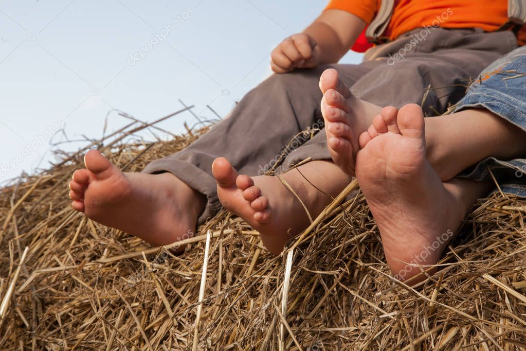 Barefoot children's feet in the hay