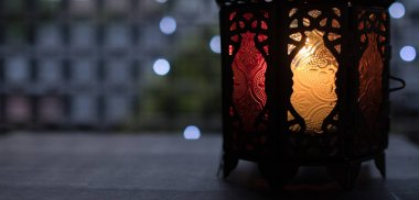 Eid or Ramadhan lantern with led lights bokeh