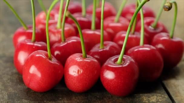 fresh ripe cherries on wooden background