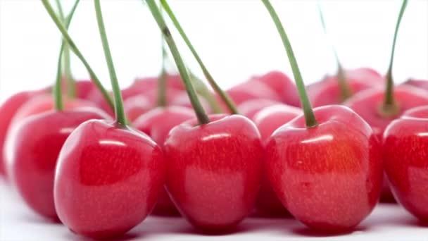 fresh ripe cherries on white  background