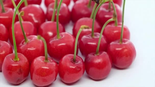 Sweet and healthy  cherries on white background, fresh fruits