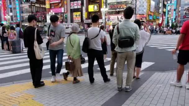 TOKYO, JAPAN - JUNE 30TH, 2018. Tourists and locals crossing the street of Kabukicho, Shinjuku.