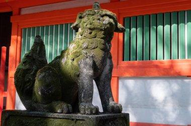 Komainu or dog lion statue at a Shinto shrine in Fukuoka, Japan.