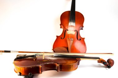 Two brown violins on white background