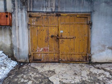 old wooden gate, vintage garage door