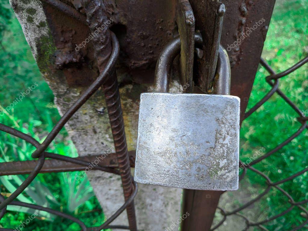 old door lock. vintage metal padlock