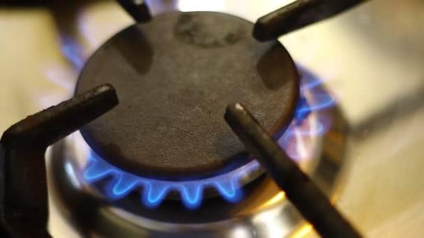 Feuer aus einem Gasherd. Blaues Erdgasfeuer.