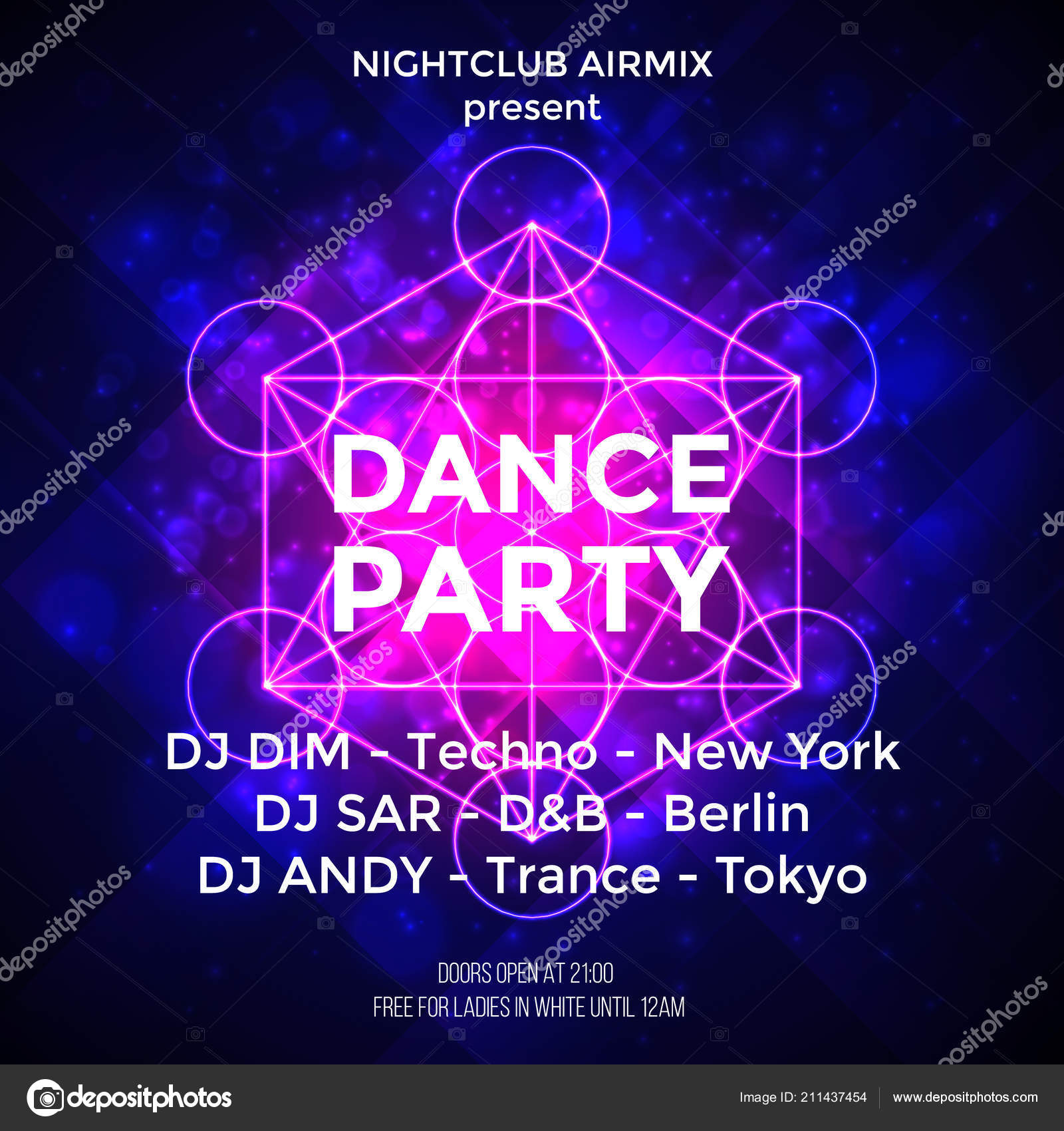 Dance party poster vector background template with particles