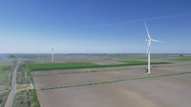 Wind electric generator - power stations in field. Aerial view