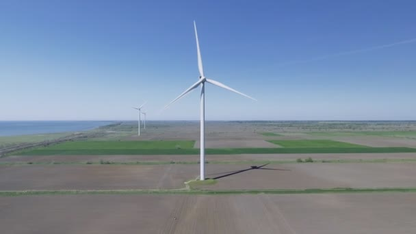 Wind power turbines in the field. Aerial view