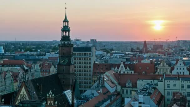 view of famous polish city Wroclaw. European Capital of Culture. City panoramic view. Traveling EU
