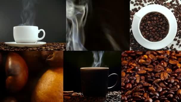 Csésze kávé- és babkávé. Egy fehér csésze kávé az asztalra és sült bab párolgó.
