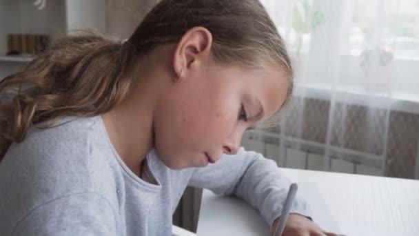 Diligent little girl doing homework at home