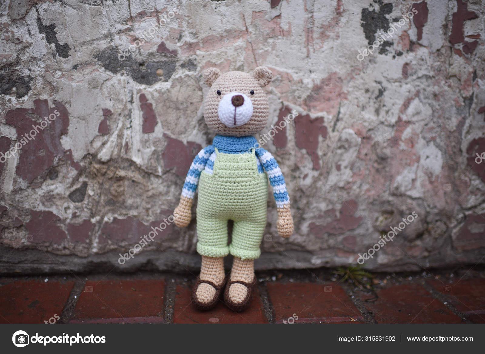 Handmade Amigurumi Teddy Bear On Wooden Table Stock Photo ...   1168x1600