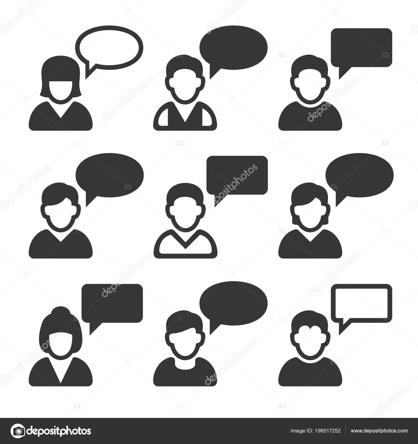 speaking people avatars chat icons set vector stock vector