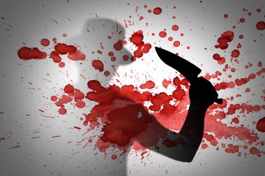 silhouette of murder with knife on bloody background