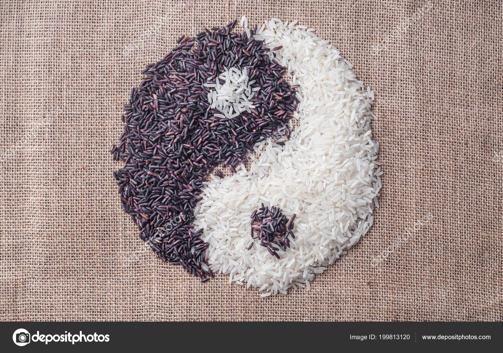 Yin Yang Symbol Made Black White Rice Sackcloth Background Stock