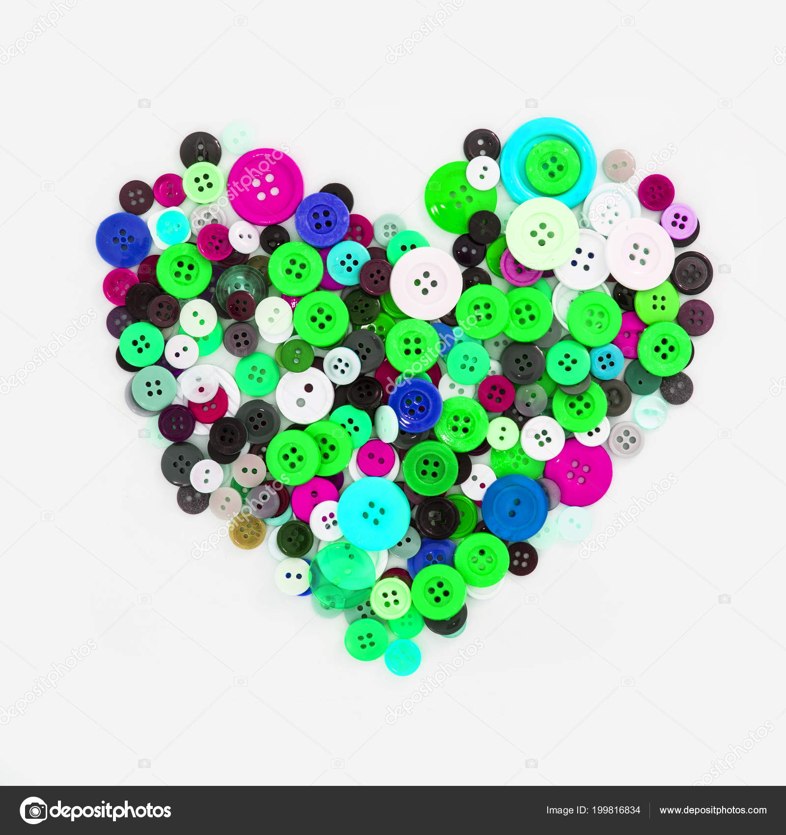 Colorful Different Buttons Heart Shaped — Stock Photo