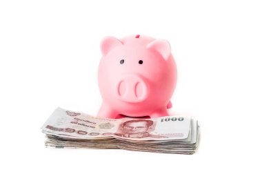 pink piggy bank with stack of money on white background