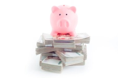 pink piggy bank on stack of money on white background