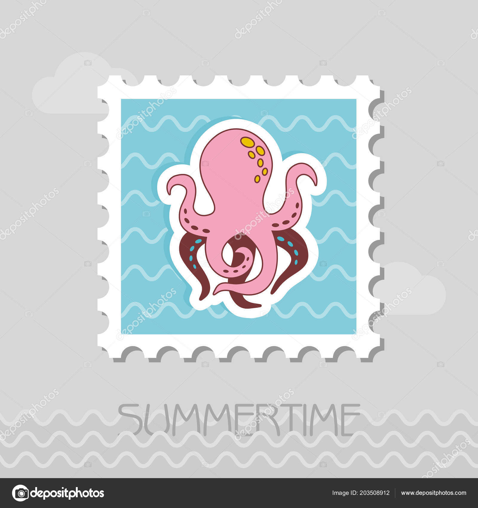 Octopus Vector Stamp Summer Summertime Holiday Vacation Eps Stock