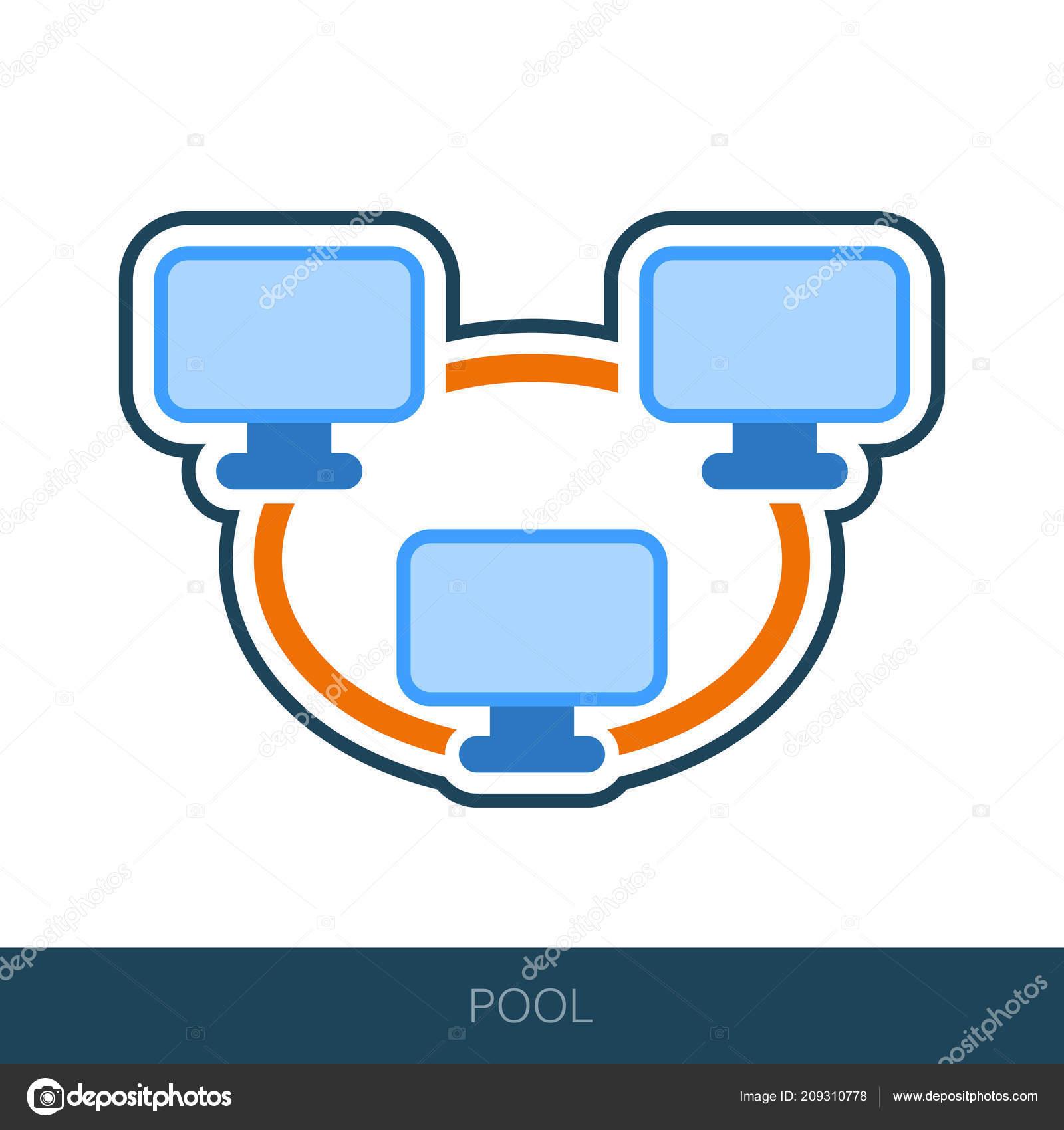 Bitcoin Mining Pool Icon Peer Peer Computer Network Vector Design