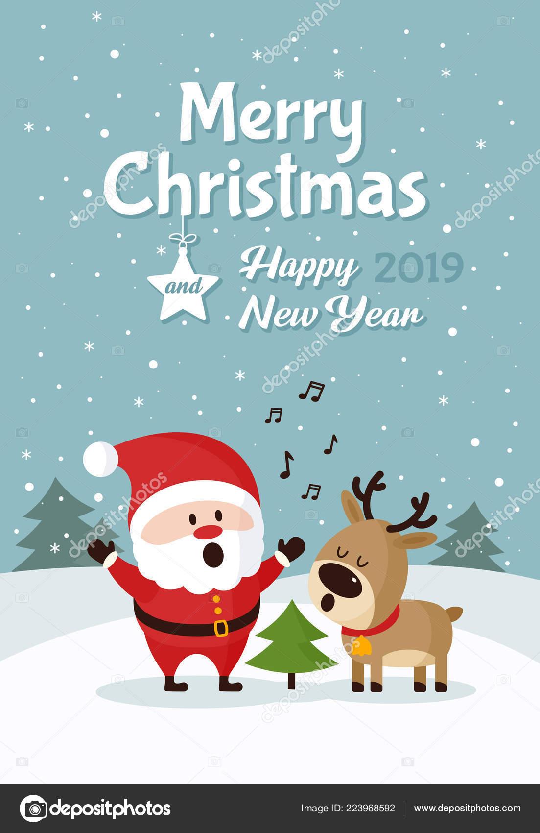 Singing Christmas Tree 2019.Santa Claus Deer Singing Christmas Tree Merry Christmas