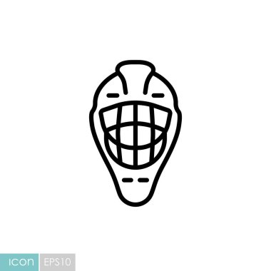 Goalie helmet vector icon. Winter sign. Graph symbol for travel and tourism web site and apps design, logo, app, UI icon