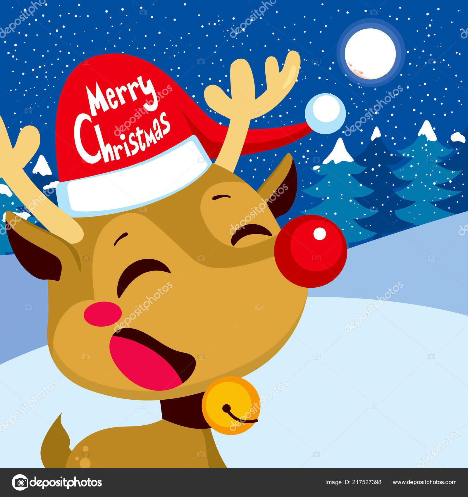 Rudolph La Renna Di Babbo Natale.Carina Felice Renna Rudolph Con Cappello Babbo Natale Buon Natale