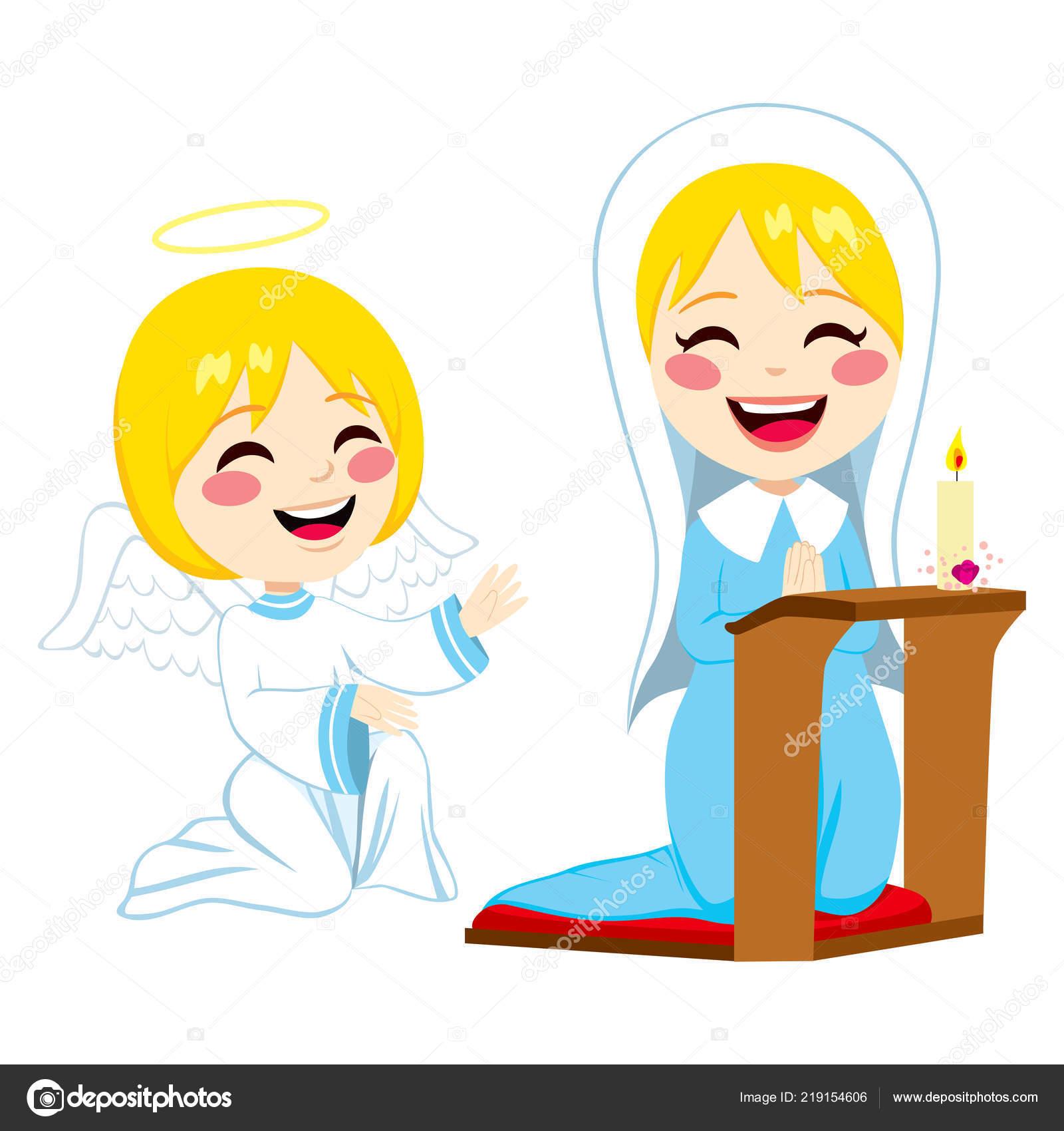 Maria Orando Feliz Angel Gabriel Trayendo Buenas Noticias Acerca Del