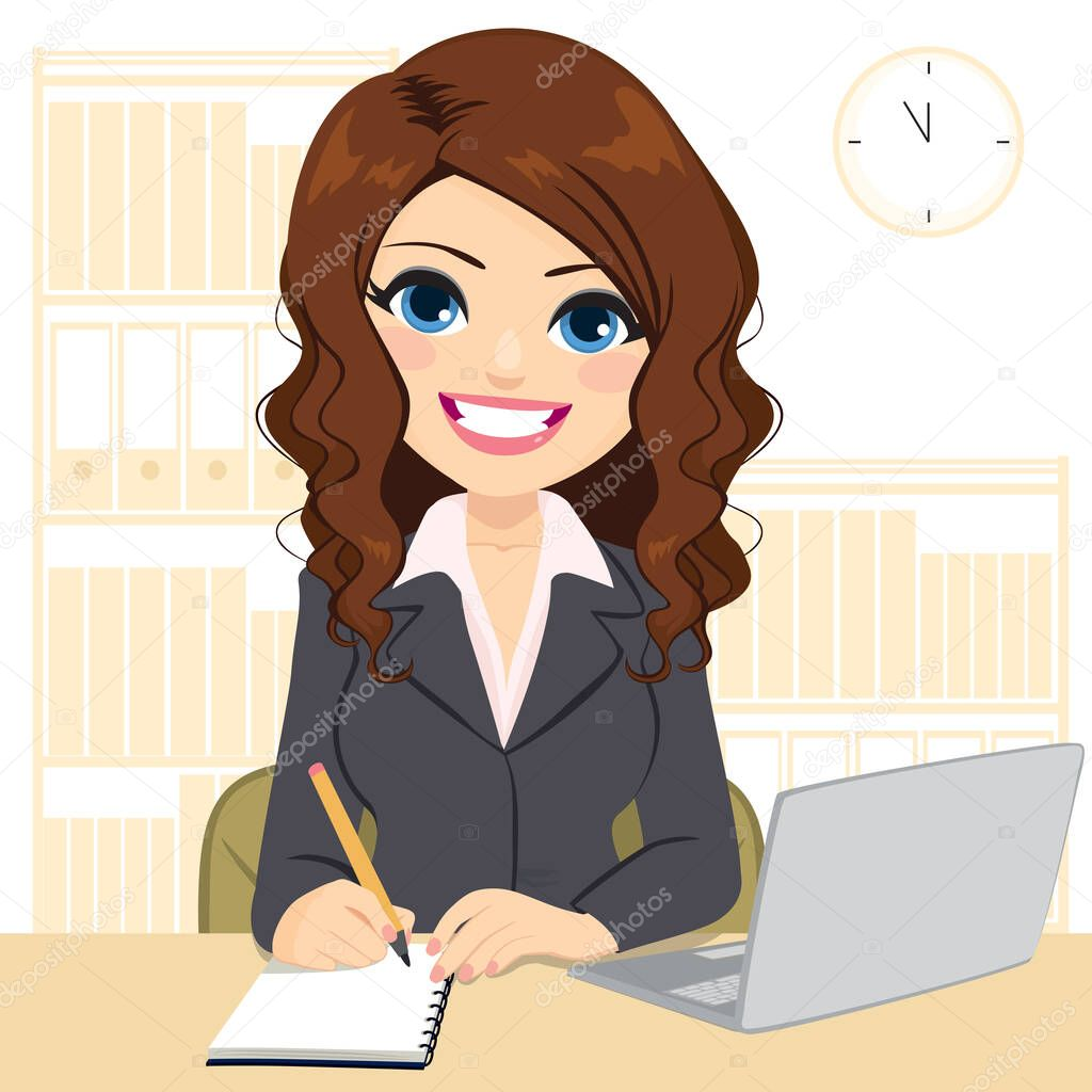Фотообои Young beautiful woman smiling working on desk using laptop and taking notes writing on notebook