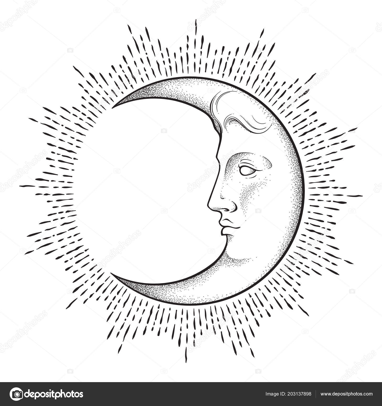 Crescent Moon Face Antique Style Hand Drawn Line Art Dotwork Stock Vector
