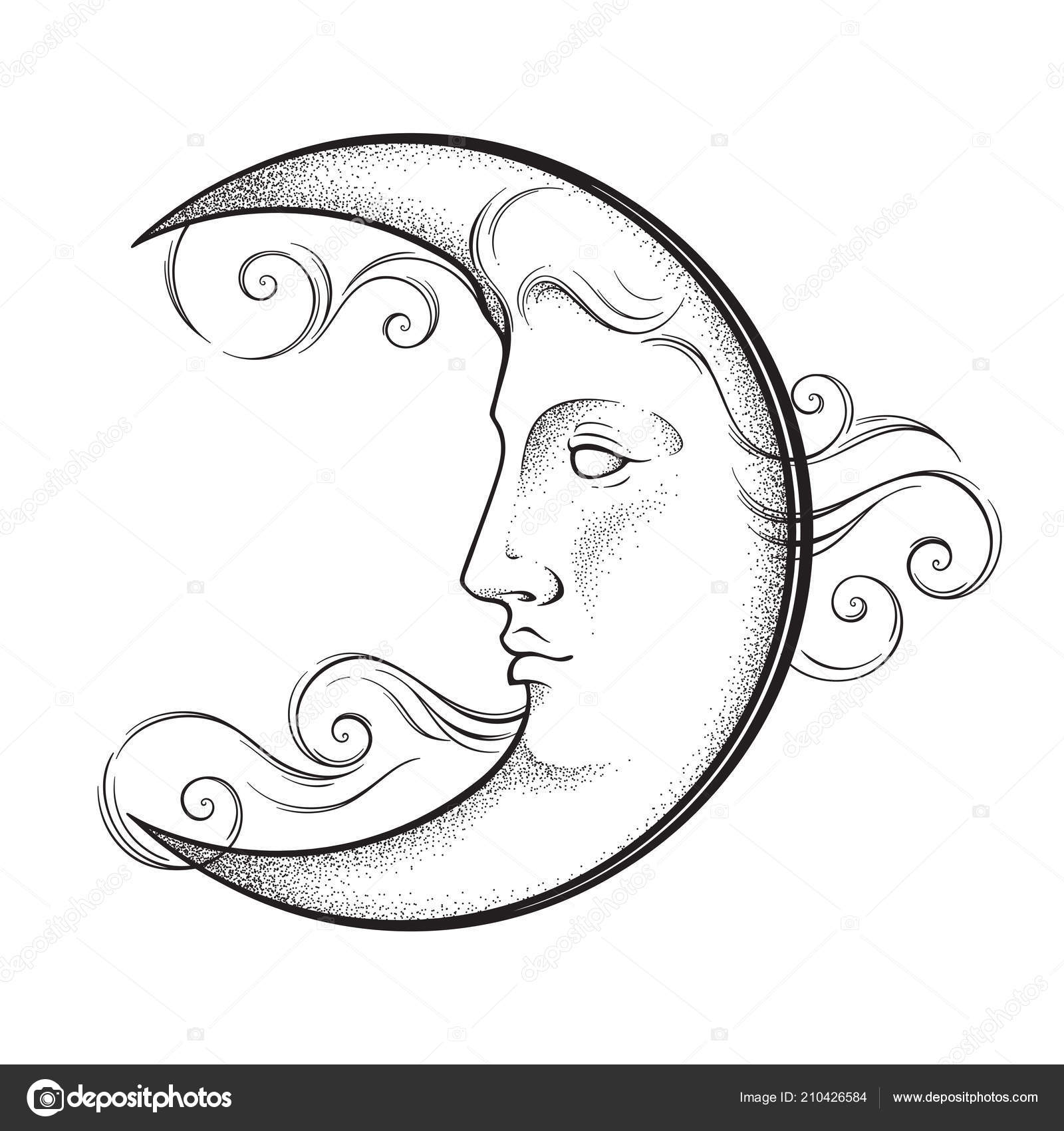 Drawn Realistic Crescent Moon Tattoo