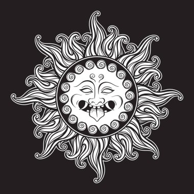 Medusa Gorgon head in flame hand drawn line art and dot work tattoo or print design isolated vector illustration. Gorgoneion is a protective amulet