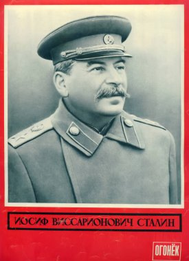 MOSCOW, RUSSIA - MARCH 15, 1953: I.V. Stalin's portrait on a cover of the mourning issue of the magazine Ogoniok. The Russian text - Iosif Vissarionovich Stalin. Spark