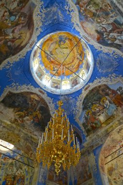 Frescos and the lamp in an interior. Church of the Fedorovsky icon of the Mother of God. Uglich, Yaroslavl region