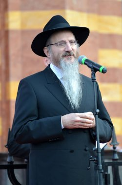 KALININGRAD, RUSSIA - NOVEMBER 08, 2018: The chief rabbi of Russia Berel Lazar speaks at the opening ceremony of the restored Konigsberg synagogue