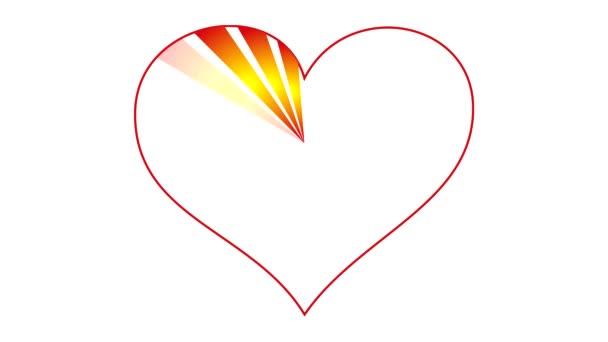 Srdce červené a žluté paprsky a v halo. Proces výkresu. Karikatura kreslení. Video