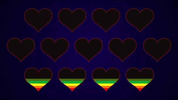 12 színes rainbow szívét, fekete és kék háttérrel látható. Művészi háttér. Vektorgrafika.