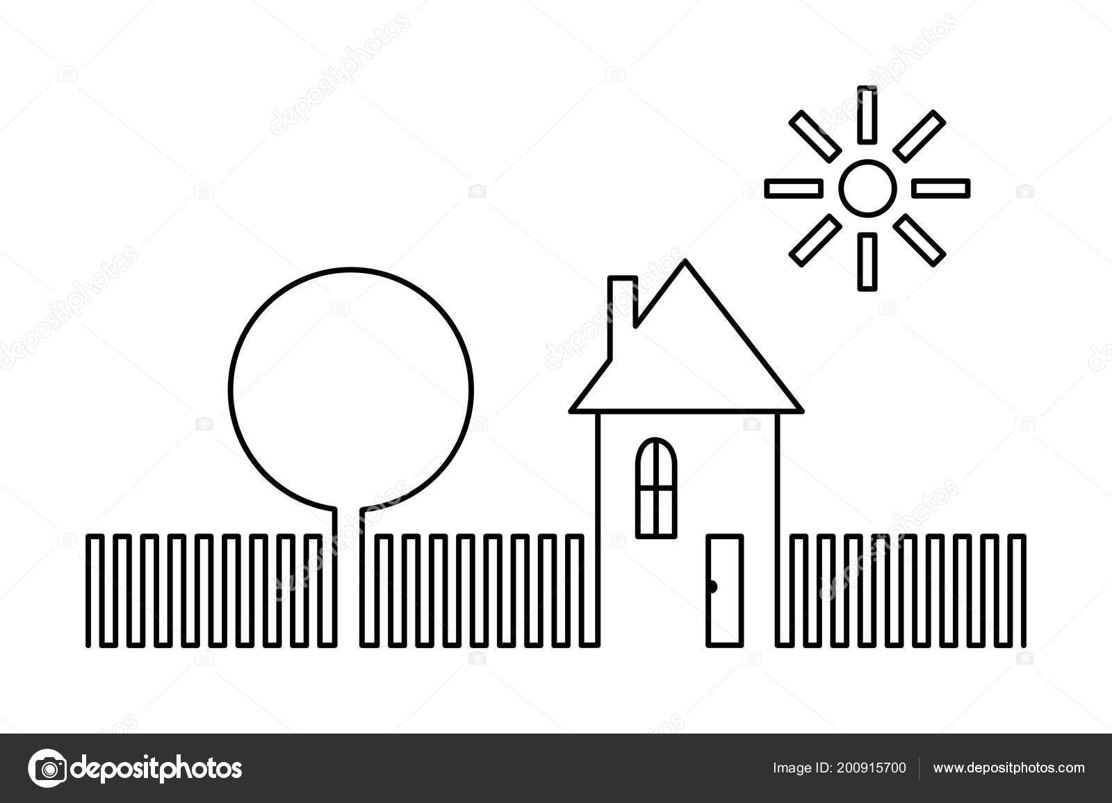 House Tree Sun Simple Schematic Black White Drawing Minimalism ... on tree roots silhouette, tree box, tree trench, tree switch, tree anatomy, tree display, tree 3d, tree graph, tree cable, tree wire, tree diagram, tree guide, tree cell, tree blueprint, tree photograph, tree visualization, tree chart, tree maintenance, tree project, tree tutorial,