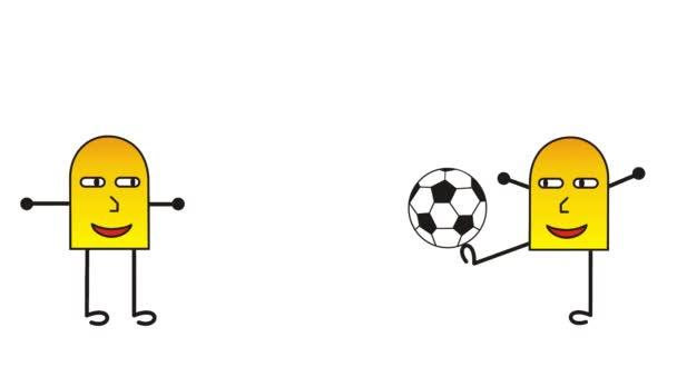 Kreslený abstraktní mužíčci hrají fotbal / fotbal. Vtipné vtipné video. Videoart. Spořič obrazovky.
