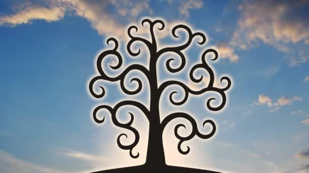 Strom života na pozadí slunce a mraky. Video o spiknutí.
