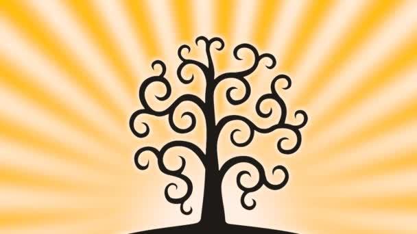 Strom života na pozadí vycházejícího slunce s otáčejícími se paprsky. Barvy oblohy se mění v pořadí duhy. Barevná obloha. Video obrázek